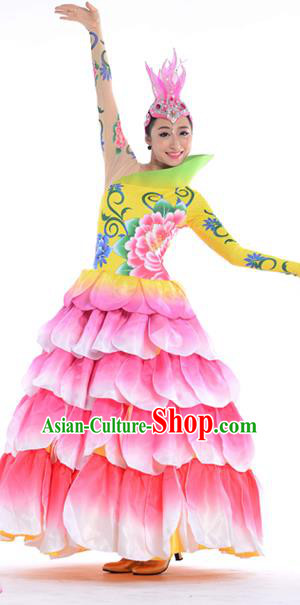 Chinese Classic Stage Performance Chorus Singing Group Costumes, Opening Dance Folk Dance Flowers Big Swing Dress for Women