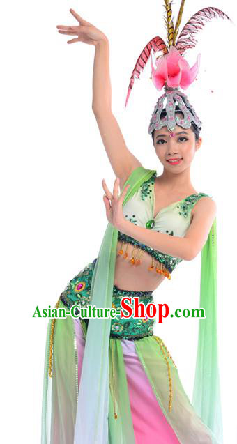 Traditional Chinese Classical Dance Fan Dancing Costume, Folk Dance Drum Dance Uniform Yangko Dance Green Dress for Women