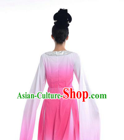 Traditional Chinese Classical Dance Flying Dance Costume, Folk Dance Drum Dance Uniform Yangko Pink Dress for Women