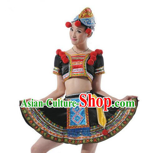 Traditional Chinese Miao Nationality Dancing Costume, Hmong Female Folk Dance Ethnic Pleated Skirt, Chinese Tujia Minority Nationality Dance Clothing for Women