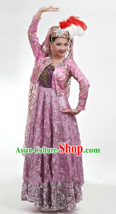 Traditional Chinese Hui Nationality Dancing Costume, Folk Dance Ethnic Dress, Chinese Hui Minority Nationality Uigurian Dance Clothing for Women