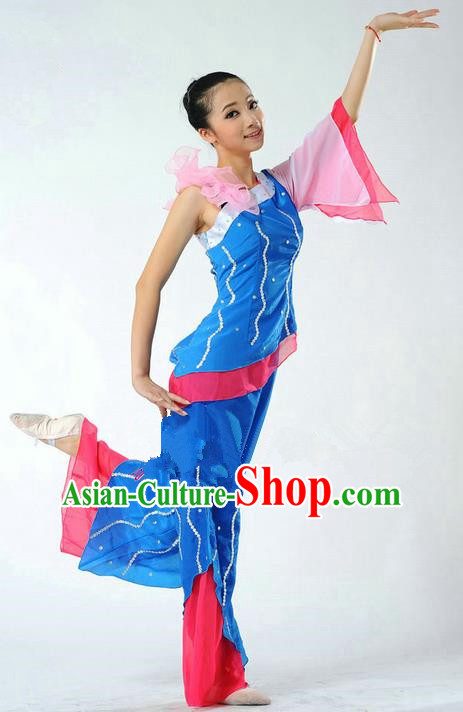 Traditional Chinese Classical Dance Yangge Fan Dancing Mandarin Sleeve Costume, Folk Dance Drum Dance Uniform Yangko Blue Clothing for Women