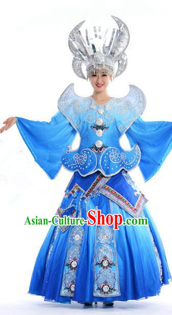 Traditional Chinese Miao Nationality Dancing Costume, Hmong Female Folk Dance Ethnic Pleated Skirt, Chinese Minority Nationality Embroidery Blue Dress for Women