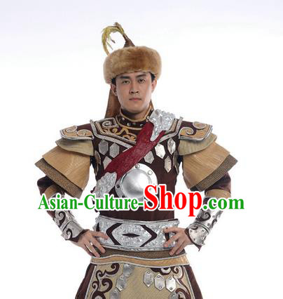 Traditional Chinese Mongol Nationality Dancing Costume, Mongols Folk Dance Ethnic Clothing, Chinese Mongolian Minority Nationality Costume for Men