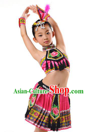 Traditional Chinese Zhuang Nationality Dancing Costume, Children Zhuang Zu Folk Dance Ethnic Pleated Skirt, Chinese Minority Nationality Embroidery Costume for Kids