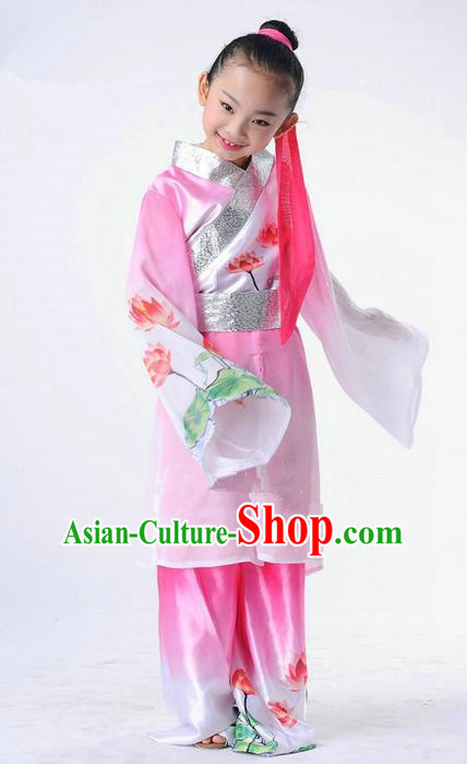 Traditional Chinese Classical Dance Peking Opera Performance Costume, Children Folk Dance Uniform Lotus Dance Pink Clothing for Kids