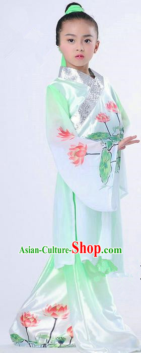 Traditional Chinese Classical Dance Peking Opera Performance Costume, Children Folk Dance Uniform Lotus Dance Green Clothing for Kids