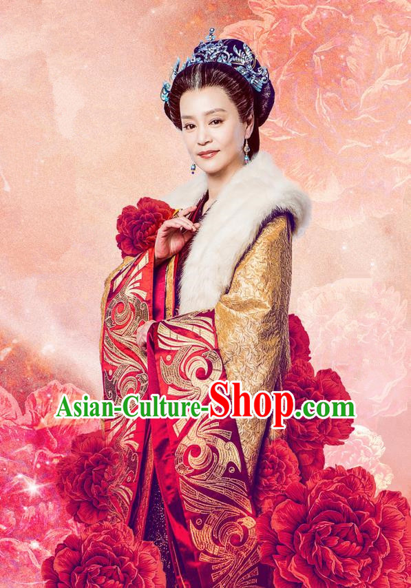 Traditional Chinese Ancient Song Dynasty Imperial Empress Dowager Costume and Headpiece Complete Set, Chinese Teleplay Flower Shabana Flyings Sky Queen Mother Embroidered Dress for Women