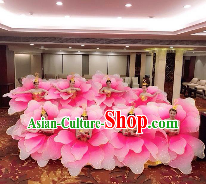 Traditional Chinese Modern Dancing Compere Costume, Women Opening Classic Chorus Singing Group Dance Uniforms, Modern Dance Classic Dance Pink Flowers Dress for Women