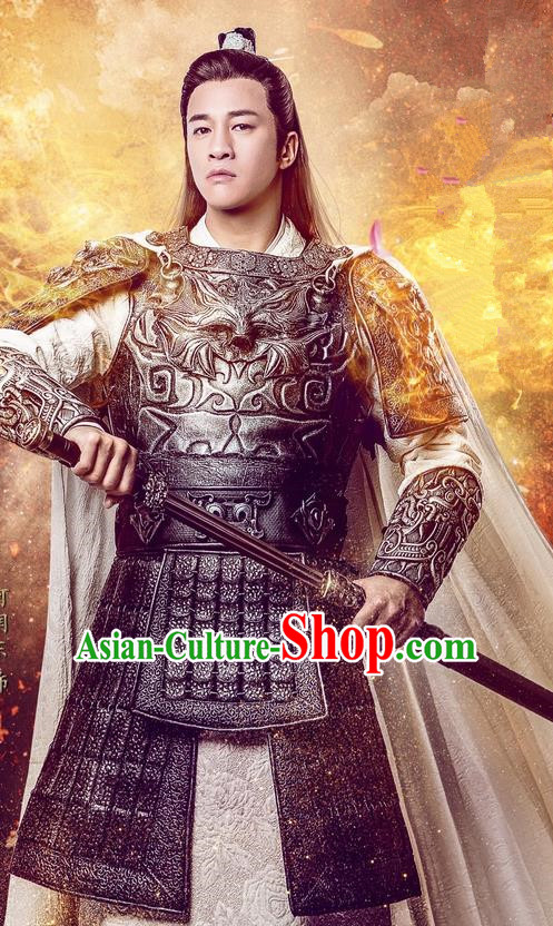 Traditional Chinese Song Dynasty General Costume and Handmade Headpiece Complete Set, China Ancient Warrior Armor Clothing for Men