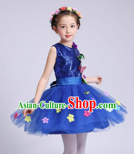 Chinese Modern Dance Compere Performance Costume, Children Opening Dance Chorus Dress, Classic Dance Blue Veil Bubble Dress for Girls Kids