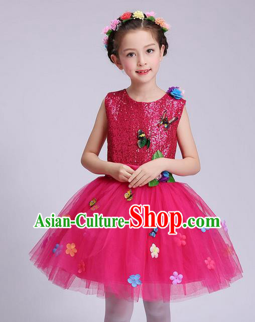 Chinese Modern Dance Compere Performance Costume, Children Opening Dance Chorus Dress, Classic Dance Pink Veil Bubble Dress for Girls Kids