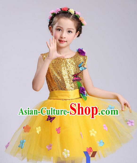 Chinese Modern Dance Compere Performance Costume, Children Opening Dance Chorus Dress, Classic Dance Yellow Veil Bubble Dress for Girls Kids