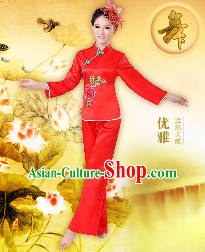 Traditional Chinese Yangge Fan Dancing Costume, Folk Dance Yangko Costume Drum Dance Red Clothing for Women