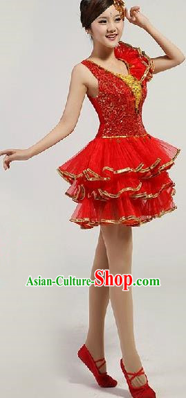 Chinese Compere Performance Costume, Opening Dance Chorus Dress, Modern Dance Classic Dance Red Bubble Dress for Women