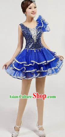 Chinese Compere Performance Costume, Opening Dance Chorus Dress, Modern Dance Classic Dance Blue Bubble Dress for Women