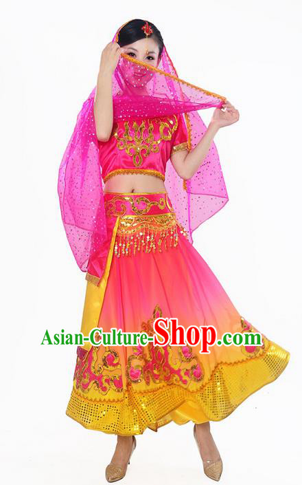 Traditional Indian Belly Dance Costumes, Bollywood Belly Dance Red Dress for Women
