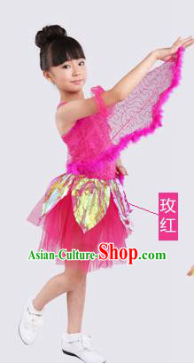 Top Compere Performance Catwalks Costume, Children Chorus Red Dress with Wings, Modern Dance Princess Short Pink Bubble Dress for Girls Kids