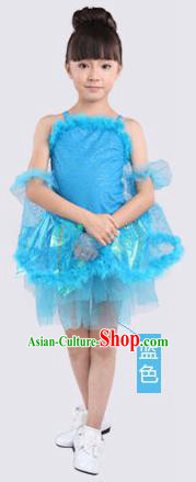 Top Compere Performance Catwalks Costume, Children Chorus Red Dress with Wings, Modern Dance Princess Short Blue Bubble Dress for Girls Kids