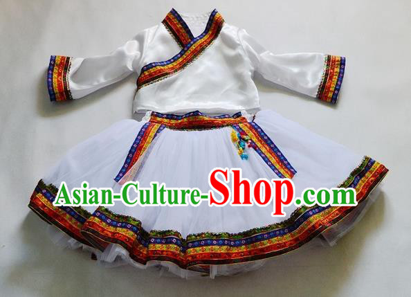 Traditional Chinese Zang Nationality Dancing Costume, Tibetan Children Folk Dance Ethnic Pleated Skirt, Chinese Tibetan Minority White Dress for Kids