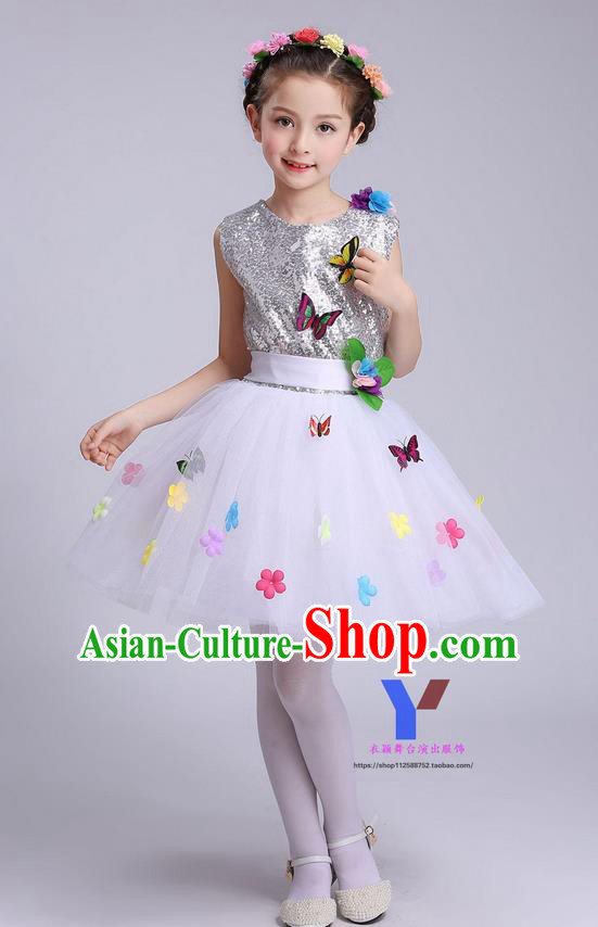 Traditional Chinese Modern Dance Compere Performance Costume, Children Opening Dance Chorus Dress, Classic Dance White Veil Bubble Dress for Girls Kids