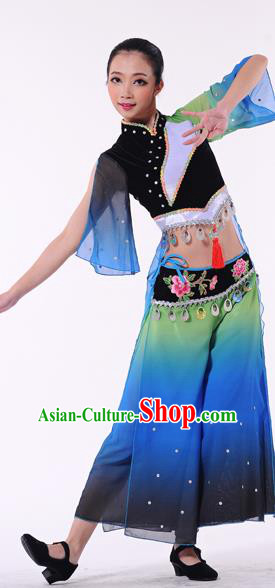 Traditional Chinese Classical Dance Yangge Fan Dance Costume, Folk Dance Uniform Yangko Clothing for Women