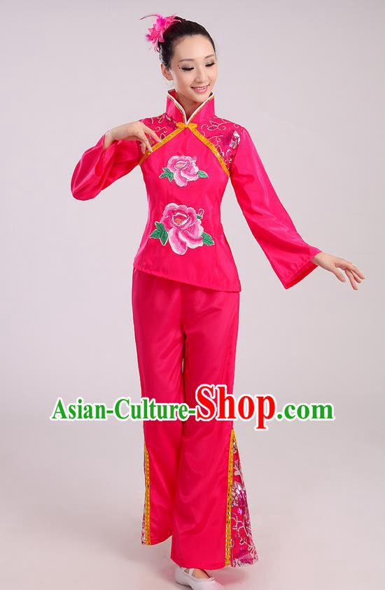 Traditional Chinese Yangge Fan Dancing Costume, Folk Dance Yangko Mandarin Sleeve Uniform Drum Dance Rose Clothing for Women