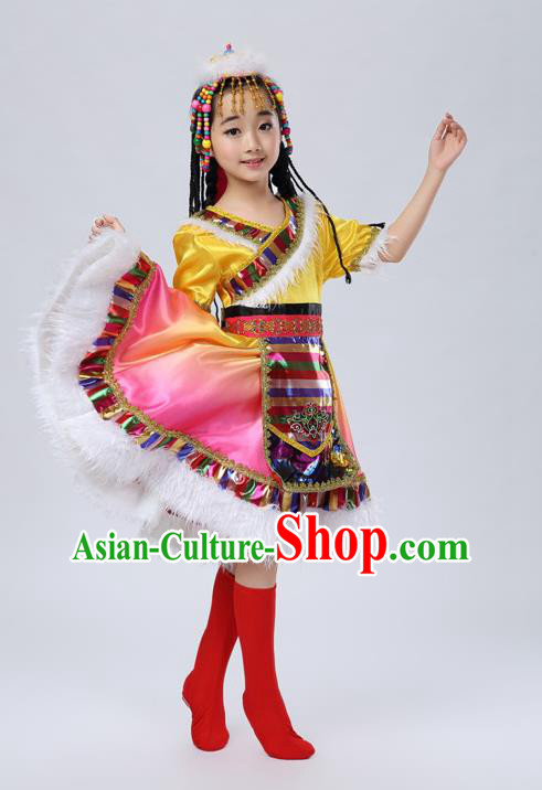 Traditional Chinese Zang Nationality Dancing Costume, Tibetan Children Folk Dance Ethnic Pleated Skirt, Chinese Tibetan Minority Yellow Dress for Kids
