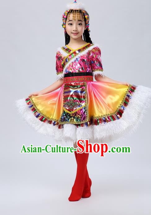 Traditional Chinese Zang Nationality Dancing Costume, Tibetan Female Folk Dance Ethnic Pleated Skirt, Chinese Tibetan Minority Yellow Dress for Women