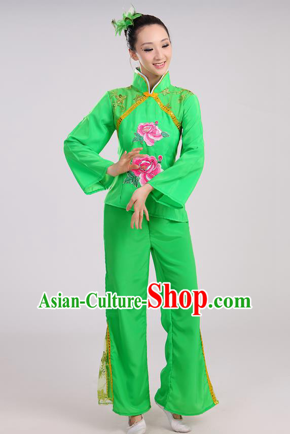 Traditional Chinese Yangge Fan Dancing Costume, Folk Dance Yangko Mandarin Sleeve Uniform Drum Dance Green Clothing for Women