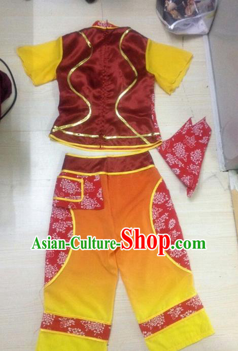 Traditional Chinese Classical Dance Yangge Fan Dance Costume, Folk Dance Uniform Yangko Orange Clothing for Women