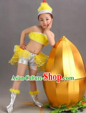 Top Compere Performance Catwalks Costume, Children Little Chicken Dress, Modern Dance Short Yellow Bubble Dress for Girls Kids