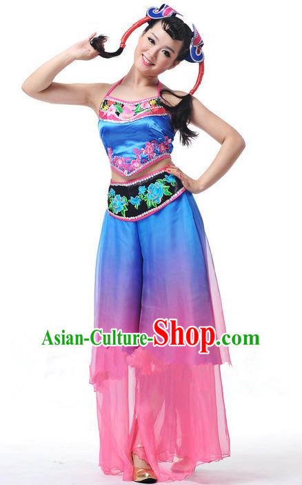 Traditional Chinese Classical Dance Fan Dance Northeast Song-and-Dance Duet Costume, Folk Dance Uniform Yangko Clothing for Women
