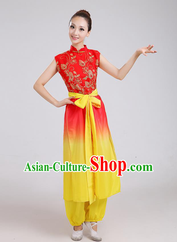 Traditional Chinese Classical Dance Yangge Fan Dance Costume, Folk Dance Drum Dance Uniform Yangko Clothing for Women