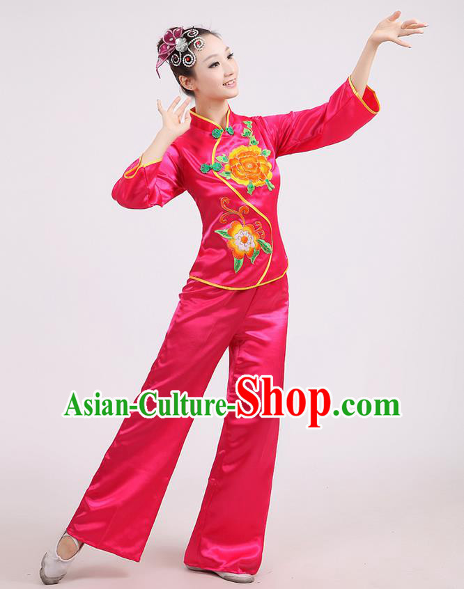 Traditional Chinese Classical Dance Yangge Fan Dance Costume, Folk Dance Drum Dance Peony Uniform Yangko Rose Clothing for Women