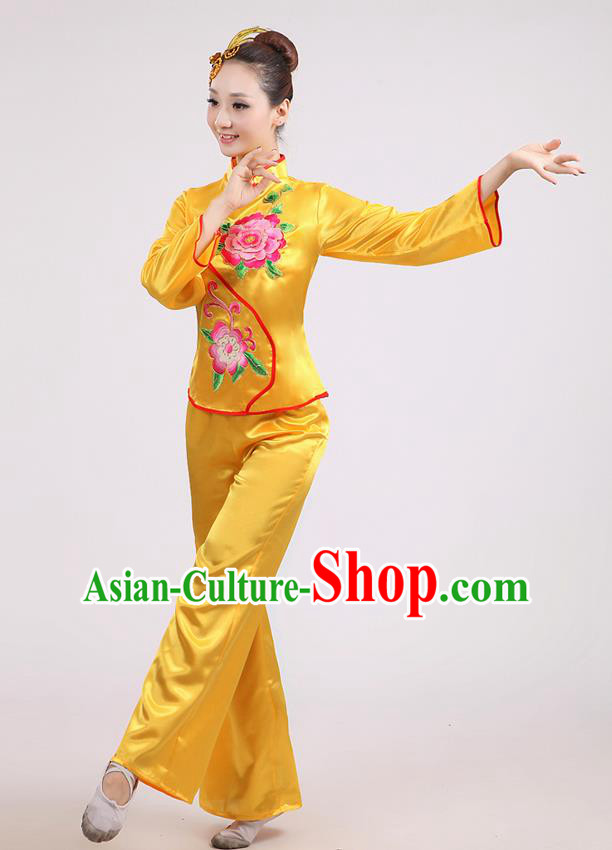 Traditional Chinese Classical Dance Yangge Fan Dance Costume, Folk Dance Drum Dance Peony Uniform Yangko Yellow Clothing for Women