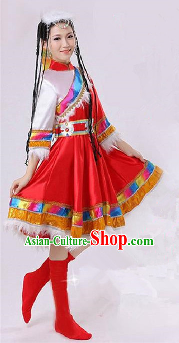 Traditional Chinese Zang Nationality Dancing Costume, Tibetan Female Folk Dance Ethnic Pleated Skirt, Chinese Tibetan Minority Red Dress for Women