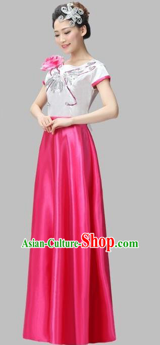 Top Grade Professional Compere Modern Dance Costume, Women Opening Dance Chorus Singing Group Uniforms Rose Long Dress for Women