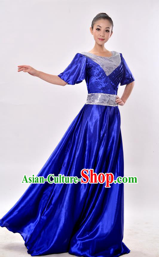 Top Grade Professional Compere Modern Dance Costume, Women Opening Dance Chorus Singing Group Uniforms Blue Paillette Long Dress for Women