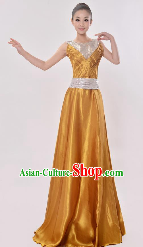 Top Grade Professional Compere Modern Dance Costume, Women Opening Dance Chorus Singing Group Uniforms Golden Paillette Long Dress for Women