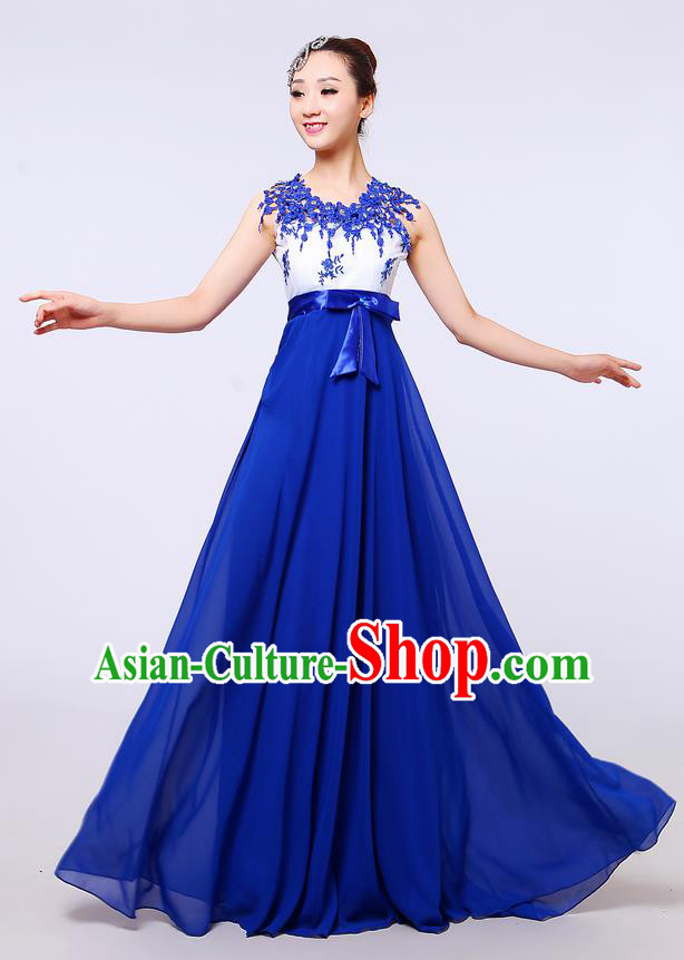 Top Grade Professional Compere Modern Dance Costume, Women Opening Dance Chorus Singing Group Uniforms Blue Lace Long Dress for Women