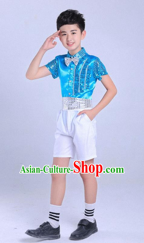 Top Grade Professional Performance Catwalks Costume, Children Chorus Modern Dance Blue Paillette Clothing for Boys Kids