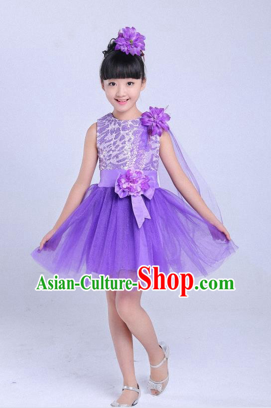 Top Grade Professional Performance Catwalks Costume, Children Chorus Modern Dance Purple Paillette Bubble Dress for Girls Kids