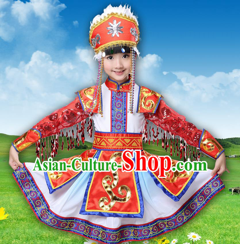 Traditional Chinese Mongol Nationality Dancing Costume, Mongols Children Princess Folk Dance Ethnic Pleated Skirt, Chinese Mongolian Minority Costume for Kids