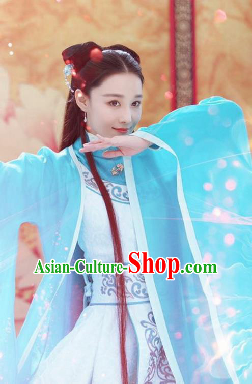 Chinese Teleplay Flower Shabana Flyings Sky Palace Princess Dance Dress, Traditional Chinese Ancient Song Dynasty Imperial Infanta Costume and Headpiece Complete Set for Women