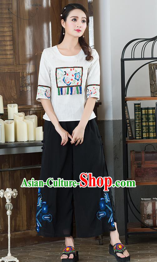 Traditional Chinese National Costume Loose Pants, Elegant Hanfu Embroidered Chiffon Black Wide leg Pants, China Ethnic Minorities Tang Suit Ultra-wide-leg Trousers for Women