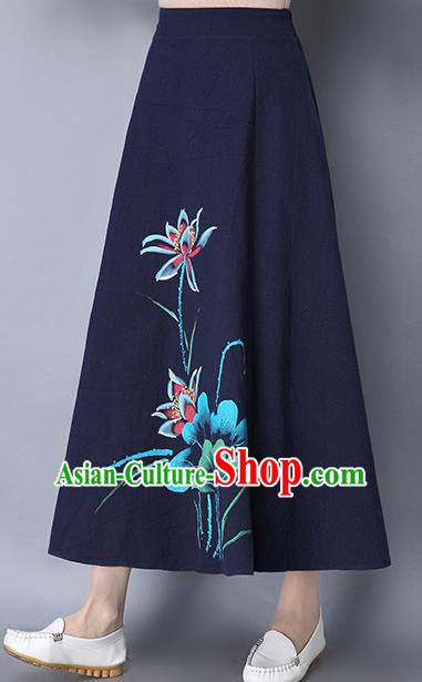 Traditional Ancient Chinese National Pleated Skirt Costume, Elegant Hanfu Linen Printing Lotus Long Navy Skirt, China Tang Suit Bust Skirt for Women