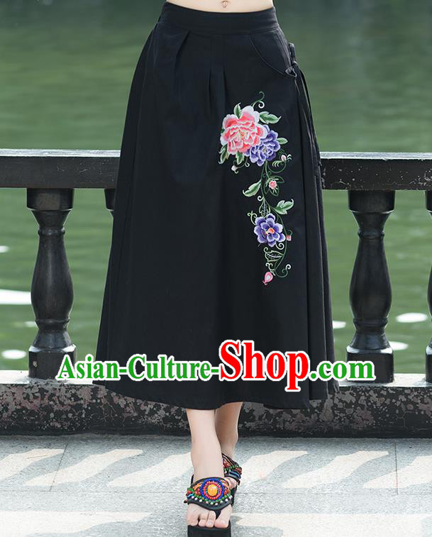 Traditional Ancient Chinese National Pleated Skirt Costume, Elegant Hanfu Linen Embroidery Long Black Skirts, China Tang Suit Bust Skirt for Women