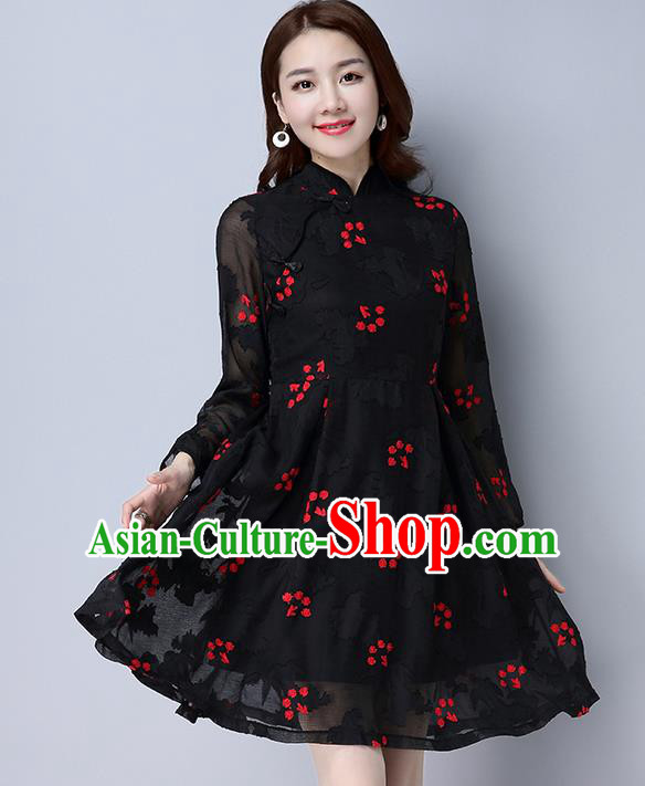 Traditional Ancient Chinese National Costume, Elegant Hanfu Mandarin Qipao Chiffon Black Dress, China Tang Suit Chirpaur Republic of China Cheongsam Upper Outer Garment Elegant Dress Clothing for Women