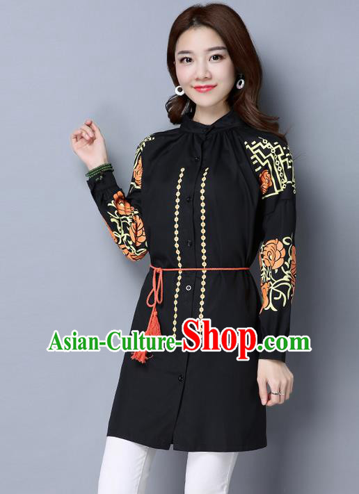 Traditional Chinese National Costume, Elegant Hanfu Dipdye Black Shirt, China Tang Suit Republic of China Chirpaur Blouse Cheong-sam Upper Outer Garment Qipao Shirts Clothing for Women